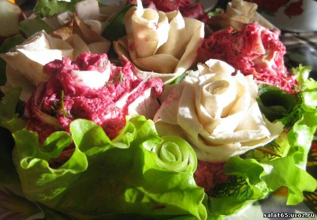 салат роза рецепт с фото с блинами